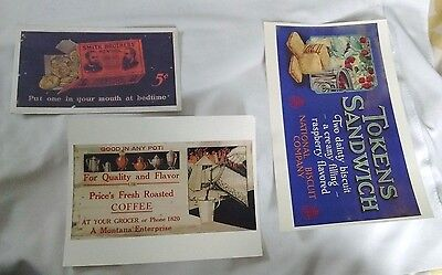 Set of 3 Circa 1920s Print from Butte Trolley Car Ad National Biscuit Co Montana