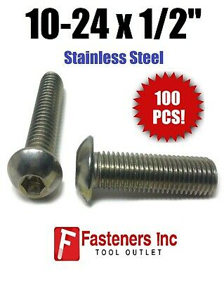 "(Qty 100) 10-24 x 1/2"" Button Head Socket Cap Screw Stainless Steel Screws UNC"