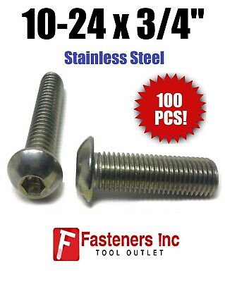 "(Qty 100) 10-24 x 3/4"" Button Head Socket Cap Screw Stainless Steel Screws UNC"