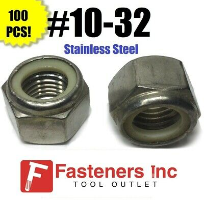 (Qty 100) 10-32 Stainless Steel Nylon Insert Lock Hex Nut UNF Nylock