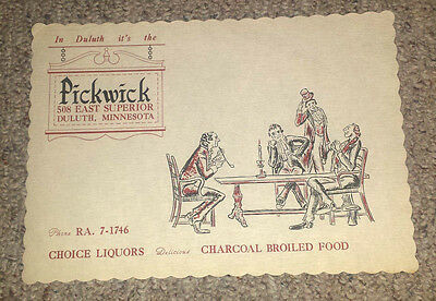 Vintage Paper Placemat PICKWICK Restaurant Duluth MN charcoal broiled food