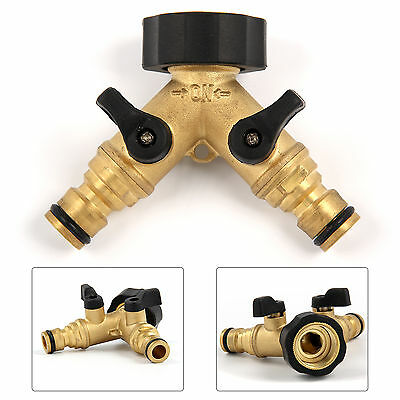 New Solid Brass Garden Tap Adaptor 2 Way Double Outside & Hose Connectors 3/4""