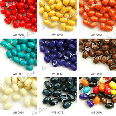 30g Approx 580pcs Rice Wood Wooden Dyed Charm Beads 6x4mm Wholesale