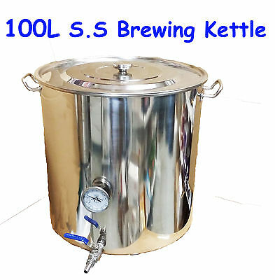 100L Stainless Steel HomeBrew All Grain Mash Brewing Kettle Brew-in-Bag Kettle