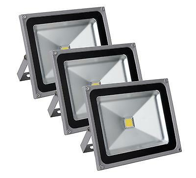 3x FOCO LED LUZ LAMPARA PROYECTOR PARED EXTERIOR 50W 50.000H A+ IP65 4500K SET