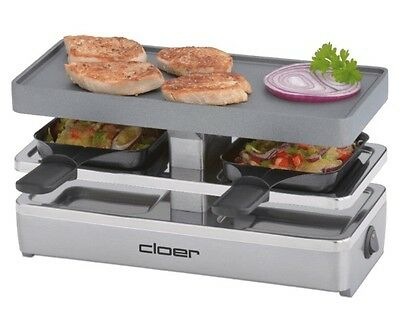 Cloer 6495 Fun Cooking Mini Raclettegrill 2-Personen Raclette Grill Tischgrill