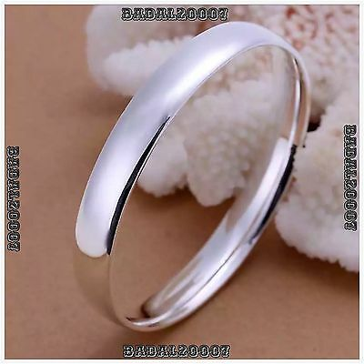 925 Sterling Silver Layered CLASSIC SOLID BANGLE BRACELET 10MM 45g ROUND SOLID