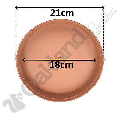 2 x 21cm Plant Pot Saucer Drip Tray Terracotta Plastic Deep High Sided Strong