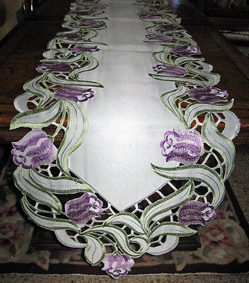 """Purple Floral Garden Embroidered Lacy Table Runner Dresser Scarf 69""""x 12"""""""