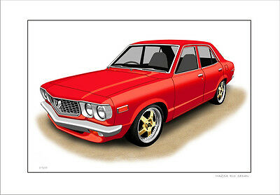 Mazda Rx3  Sedan  Re12 Re13 Rotary  Limited Edition Car Print Automotive Artwork