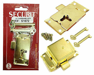Brass 63mm Lock Wardrobe Drawer Cabinet Door Bedroom Catch With 2 Keys & Screws