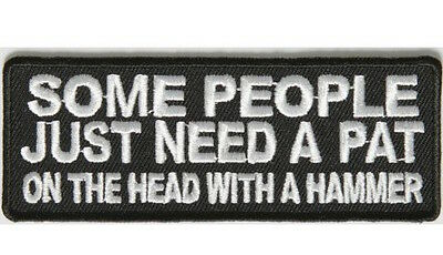 Biker Vest Patches Pat On Head With Hammer Sew/Iron Motorcycle Bike Men's Rider