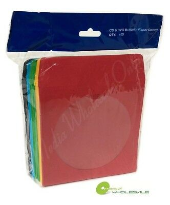 400 CD DVD Assorted Multi Color Paper Sleeve with Clear Window and Flap Envelope