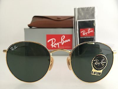 Authentic Ray-Ban Round Metal Rb3447 001 50Mm Green Lens Gold Frame Sunglasses