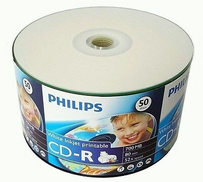 50 PHILIPS 52X Blank CD-R CDR 700MB White Inkjet Hub Printable Media Disc