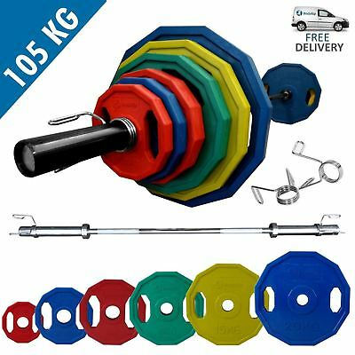 BodyRip POLYGONAL COLOURED OLYMPIC WEIGHT SET OF 105KG with 7FT BARBELL COLLARS