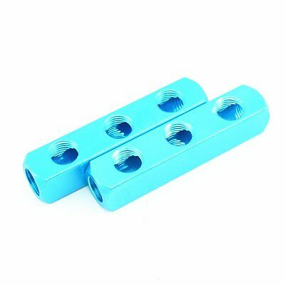 "2Pcs 1/4"" PT Threaded Ports 3 Way Quick Connect Air Hose Manifold Block Splitter"