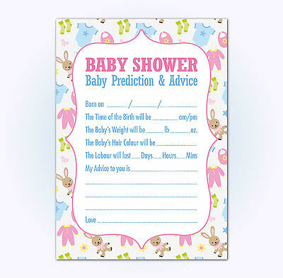 Baby shower prediction cards and advice, 16 A6 Multi Coloured, for Boys or Girls