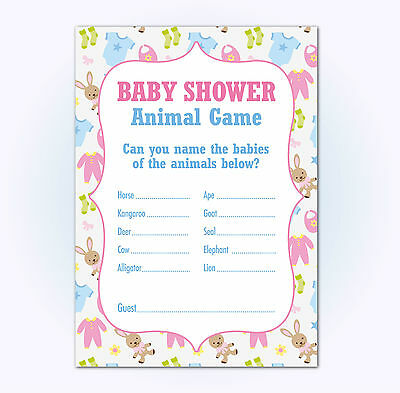 Baby Shower Animal Baby Name Game, Pack of 16, Multi Coloured, Boys / Girls