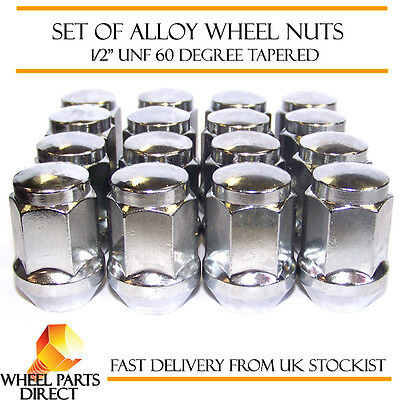 """Alloy Wheel Nuts (16) 1/2"""" UNF Degree Tapered for Jeep Grand Cherokee 1991-2010"""
