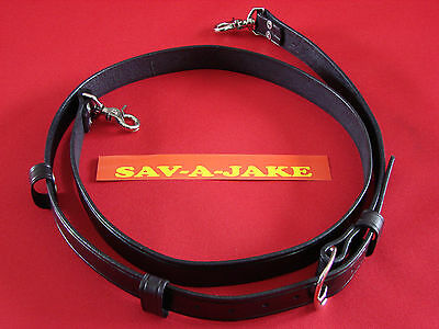 Sav-A-Jake Firefighter Leather Radio Strap Solid Black - XL Length