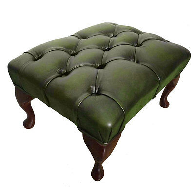 100% Real Leather Authentic Chesterfield Footstool Antique Green Handmade In Uk