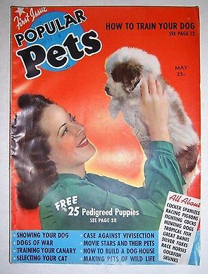Vintage POPULAR PETS magazine. First Issue. May 1940. Ziff-Davis Publishing