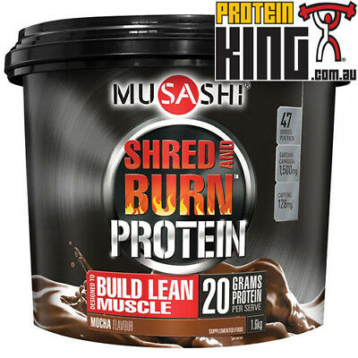 Musashi Shred And Burn 1.6Kg Mocha Weight Loss Fat Burning Protein Powder Bsc