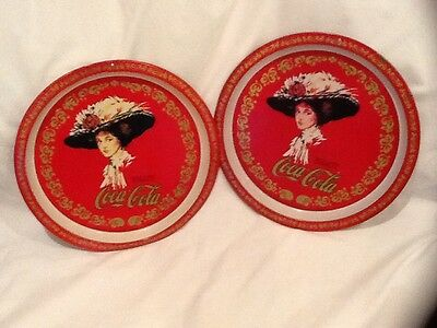 Vintage Coca Cola Round Collectible Tray 1982 13in Set/lot Of 2