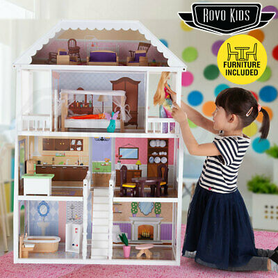ROVO KIDS Wooden Doll House - Girls Large Toy Pretend Play Dollhouse Furniture