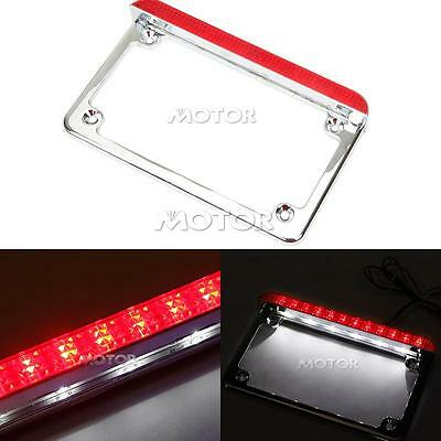 Red Lens Motorcycle Silver LED License Plate Frame With LED Tail Brake Light