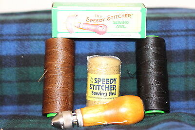 SPEEDY STITCHER Sewing Awl Repair Tool Kit made in the US plus 3 x spools thread