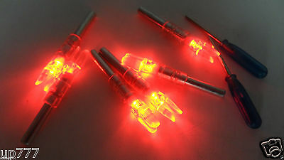 6PK Automatically Led Lighted luminous tail Arrow RED Nock+ 1X Screwdriver