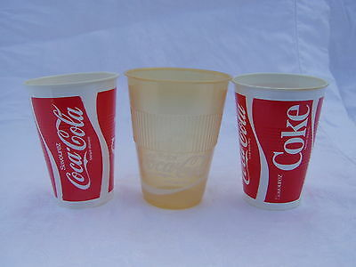 3 Older Small Size Coca Cola Coke Plastic Cups