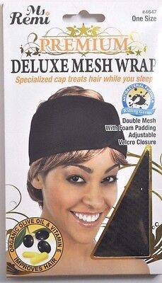 New Ms. Remi Premium Black Deluxe Mesh Wrap #4647 Double Mesh Adjustable