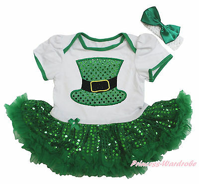 Bling Hat St Patrick White Bodysuit Green Sequins Girls Baby Dress Outfit NB-18M