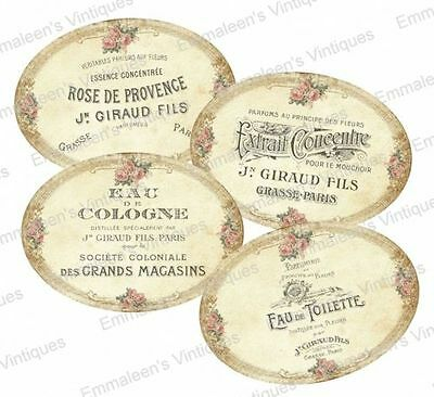 ~Vintage Shabby Victorian Rose French Labels Waterslide Decals~ LAB415