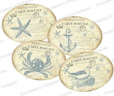 Vintage Image Shabby Victorian Nautical Beach Labels Waterslide Decals LAB416