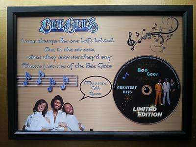 BEE GEES Memorabilia CD Quote frame on Gold background & Rhinestone,Maurice Gibb