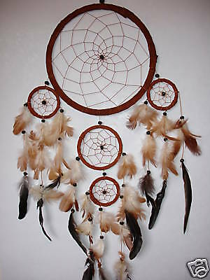 5 RING HANDMADE INDIAN DREAM CATCHER IN TAN BROWN SUEDE LEATHER dcle12tritan