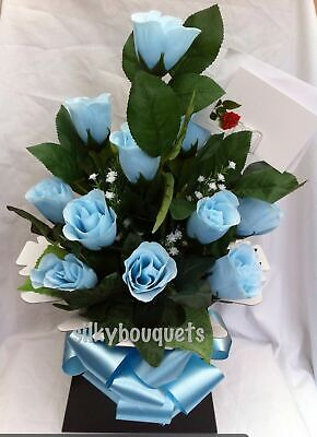 Artificial Silk Flowers Dozen Blue Rose Valentines Day Gift Bouquet Box Delivery