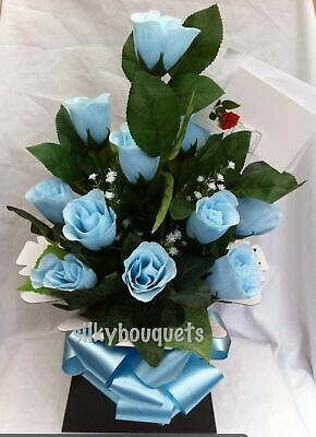 Mothers Day Artificial Silk Flowers Dozen Rose Gift Bouquet Box False Delivered