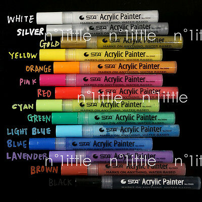 14 Colors STA Bright & Colorful Metallic Acrylic Painter Marker Craft Scrapbook