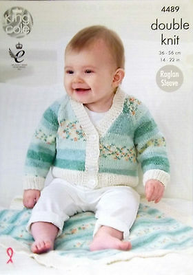 "King Cole DK Knitting pattern cardigans and blanket 12-22"" 4489"