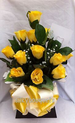 Artificial Silk Flowers Dozen Yellow Roses Valentines Gift Bouquet Box Delivery