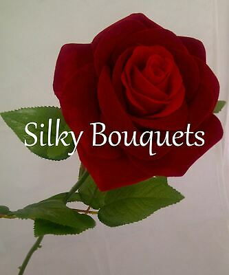 Christmas Artificial Silk Flower Single Red Rose Love Engagement Funeral Faux