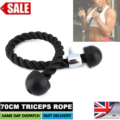 Tricep Rope Multi Gym Lat Push Pull Down Cord Bodybuilding Attachment Cable New
