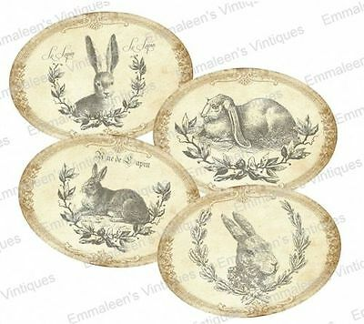 Vintage Image Victorian Grunge Bunny Bunnies Labels Waterslide Decals LAB419