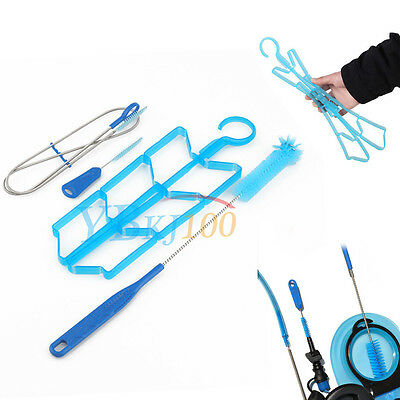 4 in 1 Portable Hydration Water Bladder Tube Cleaning Kit Brushes + Drying Rack