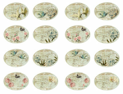~Vintage Shabby Victorian Roses Birds French Labels Waterslide Decals~ LAB418